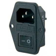 IC-214 Erkek Anahtarlı+Fuseli Kulaklı Power Soket