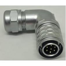 SF1214-P7 IP67 7 Pin Erkek 13 A Weipu Metal 90 Derece Kablo Tipi Konnektör